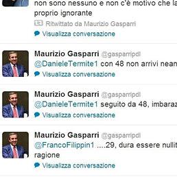 Gasparri polemizza su Twitter per un pugno di follower. Nella foto alcuni dei messaggi