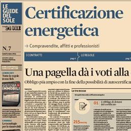 Lunedì sul Sole la Guida alla certificazione energetica - Il Sole 24 ORE