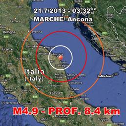 Terremoto nella Marche di magnitudo 4.9, paura ma nessun danno