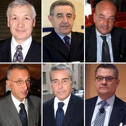 Da sinistra in alto, Mauro Sentinelli, Mauro Gambaro, Alberto De Petris, in basso, Vito Gamberale, Alberto Giordano e Federico Imbert