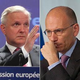 Nella foto il Commissario agli Affari economici, Olli Rehn (a sinistra) e il premier italiano Enrico Letta