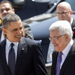 Barack Obama con Abu Mazen (Epa)