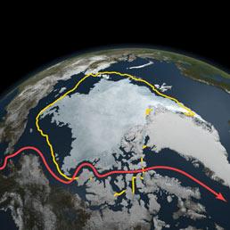 L'estensione dei ghiacci il 9 settembre 2011 confrontata con la media della superficie minima durante l'estate degli ultimi 30 anni (in giallo). In rosso, il Passaggio a Nord-Ovest, ormai completamente navigabile. (Credit: NASA Goddard's Scientific Visualization Studio).