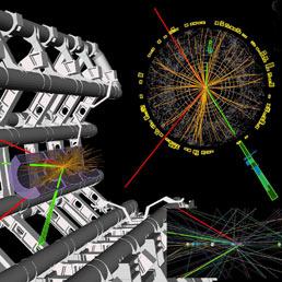 Una immagine scaricata dal sito del CERN mostra l'esperimento effettuato per la ricerca del bosone (Ansa)
