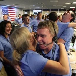 I festeggiamenti al Jet Propulsion Laboratory
