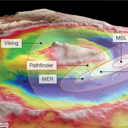 L'immagine mostra l'altimetri del cratere Gale, dove è atterrato Curiosity