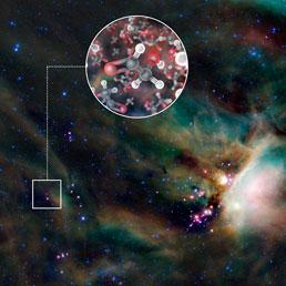 La nebulosa attorno alla stella IRAS 16293-2422. In evidenza a sinistra la zona in cui sono state rivelate le molecole di zucchero, glicolaldeide, attorno alla stella