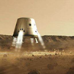 Chi arriva prima su Marte? La corsa allo spazio è ripartita. Nella foto la prima capsula di MarsOne atterra su Marte nel 2023.