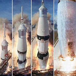 Un montaggio dei momenti iniziali del decollo dell'Apollo 11 per la Luna, nel Luglio 1969