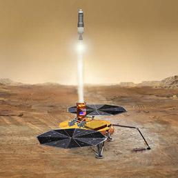 Un'illustrazione di un campione di roccia marziana che riparte verso la Terra con un piccolo razzo vettore