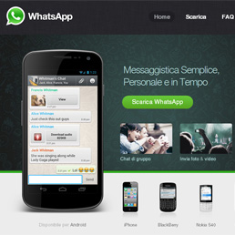 La home page del sito Whatsapp
