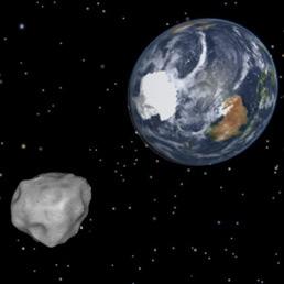 Il modello mostra il passaggio dell'asteroide 2012 DA14 attraverso il sistema Terra-Luna (Epa)