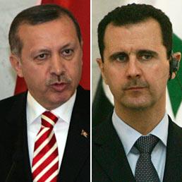 Dopo l'attacco siriano, la Turchia chiede consultazioni Nato in base art. 4. Si cerca di evitare il conflitto. Ruolo dell'Onu?. Nella foto il primo ministro turco, Tayyip Erdogan, e il presidente siriano Bashar Assad (Ansa)