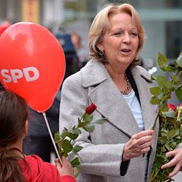 Merkel, test cruciale sul Reno. Nella foto Hannelore Kraft, governatore del Nord-Reno Westfalia in corsa per l'Spd. (AP Photo)
