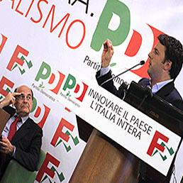 Nella foto il leader del Pd, Pierluigi Bersani (a sinistra), e il sindaco di Firenze Matteo Renzi