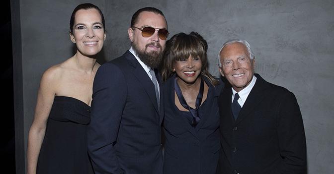 Roberta Armani, Leonardo Di Caprio e Tina Turner con lo stilista all'inaugurazione dell'Armani/Silos