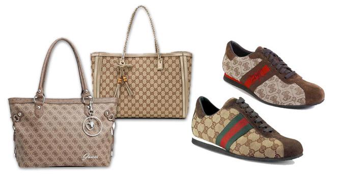 Borsa e scarpe Guess a confronto con Gucci